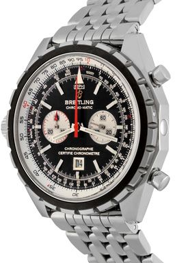 """Manufacturer: Breitling  Model Name: Chrono-Matic  Model Number: A4136012/B765  Gender: Mens  Movement: Automatic Winding with Date  Movement Details: Chronograph; Re-Edition of the Navitimer Chrono-Matic with left hand winding/setting crown  Case: Stainless Steel case with rotatable """"Slide Rule"""" bezel for flight calculations (44mm dia.). Water-Resistant to 30 Meters/99 Feet  Bracelet: Stainless Steel bracelet with flip-lik clasp  Dial: Black Dial with Stainless Steel hour markers…"""
