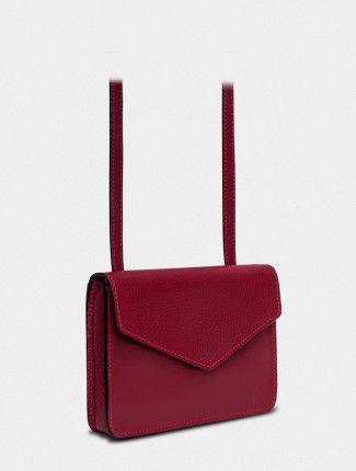 Кожаный клатч бордового цвета