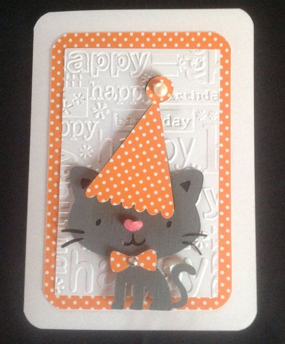 Cat Birthday Card by MandDHomemade on Etsy, $2.50