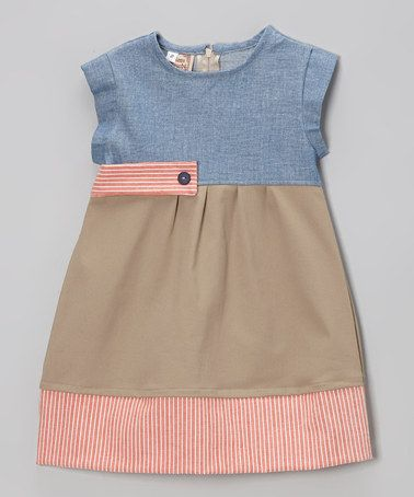 Loving this Tan Stripe Chambray Color Block A-Line Dress - Toddler & Girls on #zulily! #zulilyfinds
