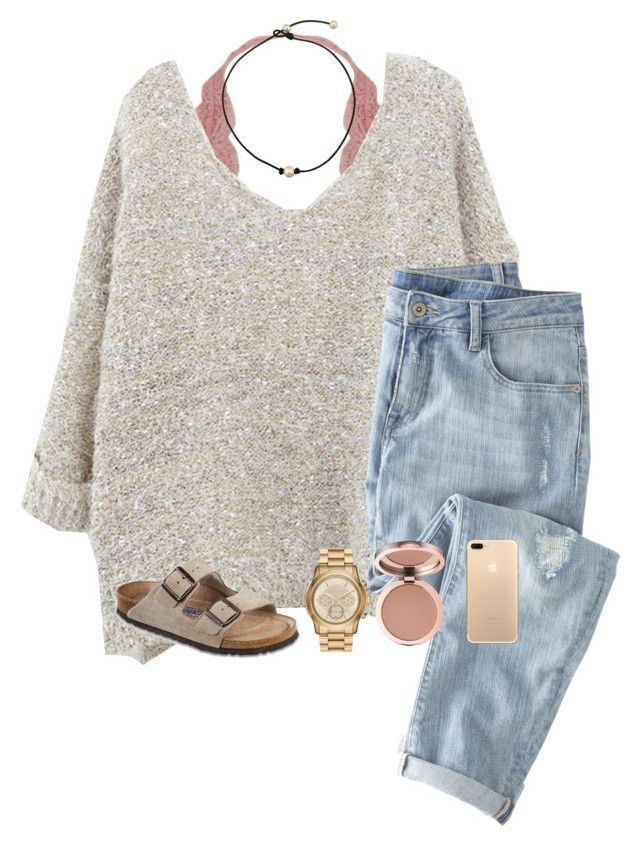 """rose gold"" by cjstefan ❤ liked on Polyvore featuring Humble Chic, Wrap, MICHAEL Michael Kors and Birkenstock"