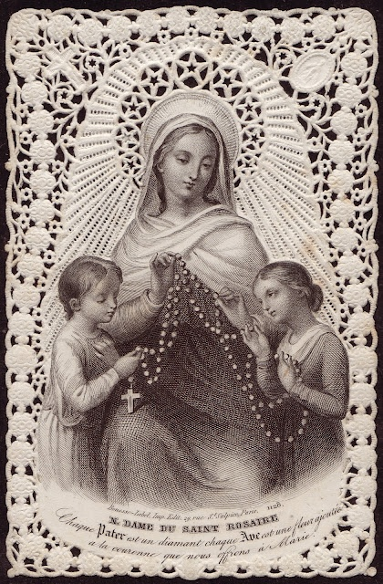 The Rosary Gorgeous antique holy card