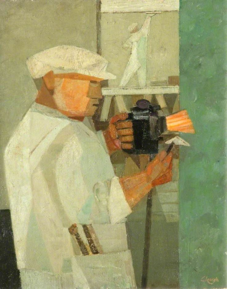 Man with a Blow Lamp by Prunella Clough  Date painted: 1950 Oil on canvas, 54.8 x 45.8 cm Collection: National Museums Liverpool