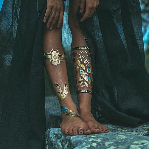Gold, blue & black metallic temporary boho tattoos
