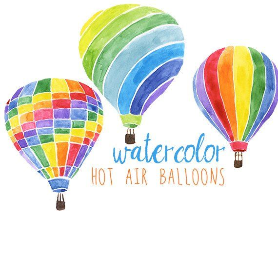 Watercolor Hot Air Balloons Party Festive Clip Art Hot Air
