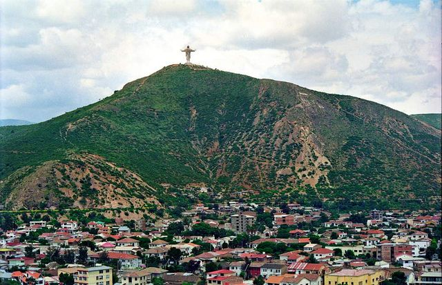 Cristo de la Concordia (Christ of Peace), Cochabamba, the largest statue of Christ in the world, surpassing its more famous counterpart in Brazil by 2 meters. Construction: 7/12/1987-11/20/1994. From the base there are fine views of the valley of Cochabamba and Tunari. On Sunday, visitors can climb to the top of the statue itself. Modeled on the famous statue in Rio, locals believe this one has more loving appearance; more human features and its arms are outstretched in a welcoming embrace.