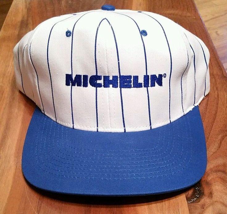 Michelin tires snapback cap trucker hat white blue for Fishing snapback hats