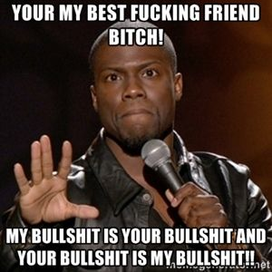 Your my best fucking friend bitch! my bullshit is your bullshit and your bullshit is my bullshit!!  | Kevin Hart