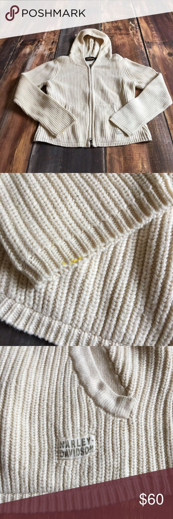 Harley Davidson Beige Zip Up Sweatshirt One small stain pictured but other than that it's in excellent condition No rips or holes From a pet free/smoke free home Harley-Davidson Tops Sweatshirts & Hoodies