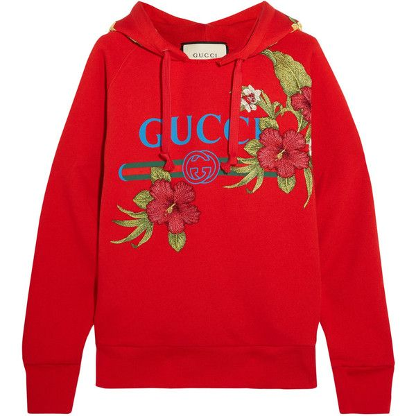 Gucci Embroidered printed cotton-jersey hooded top found on Polyvore featuring tops, hoodies, gucci, sueteres, sweaters, hooded sweatshirt, red hoodies, distressed hoodie, graphic hoodies and red top