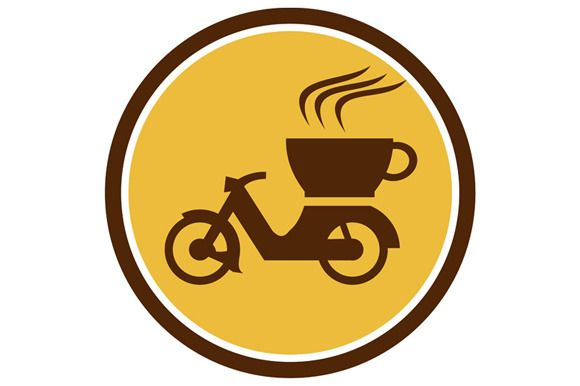 Coffee Delivery Motorcycle Circle Retro Illustration of a motorcycle motorbike with cup coffee delivery viewed from the side set inside circle done in retro style. #illustration #CoffeeDeliveryMotorcycle