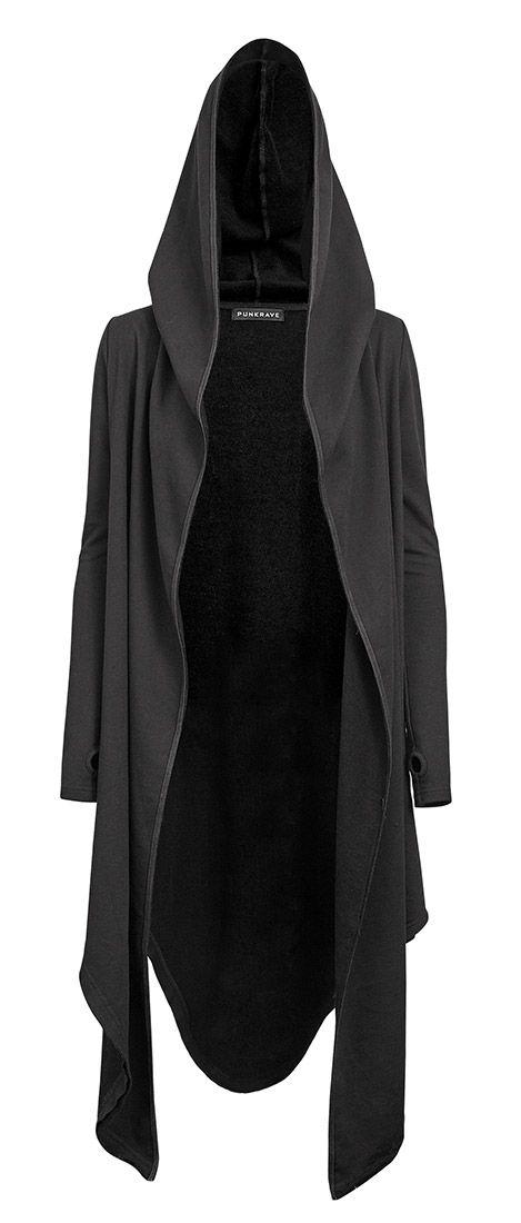 Veste noire longue effet cape avec capuche et manches mitaines, occulte, sorciere, pu > JAPAN ATTITUDE - PUNKR0162   Shop : www.japanattitude.fr