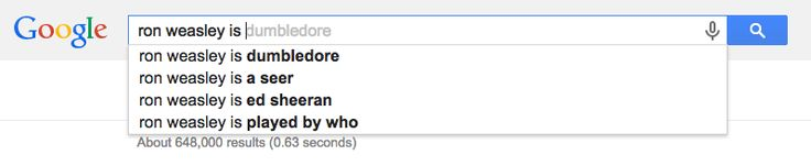 Ron Weasley is Dumbledore and/or Ed Sheeran. Weird Harry Potter google searches