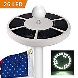 Flag Pole Light, American Flag Solar Lights 26 LED Weatherproof Auto ON/OFF Night Light Downlight for 15 to 20ft Flag Pole