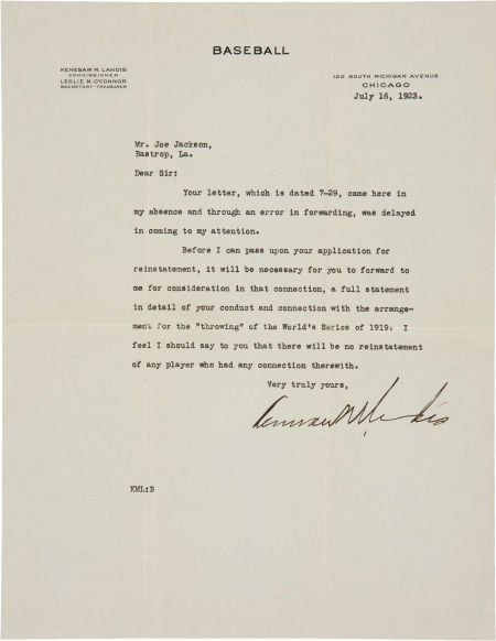 "1923 Kenesaw Mountain Landis Signed Letter to ""Shoeless"" Joe Jackson in response to a request for reinstatement www.fairfieldauction.com"