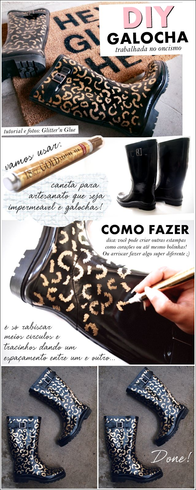 DIY animal print rain boots! Look the part when organising your home! :)