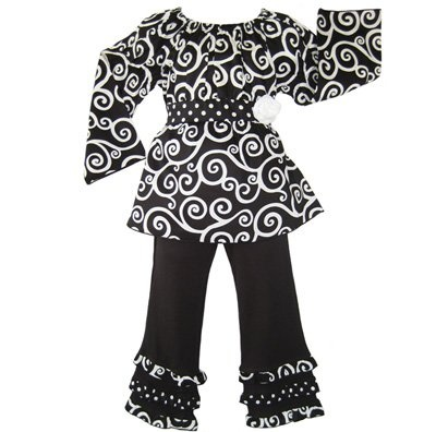 Boutique Girls Black Swirl Set Kids Clothing Clothes