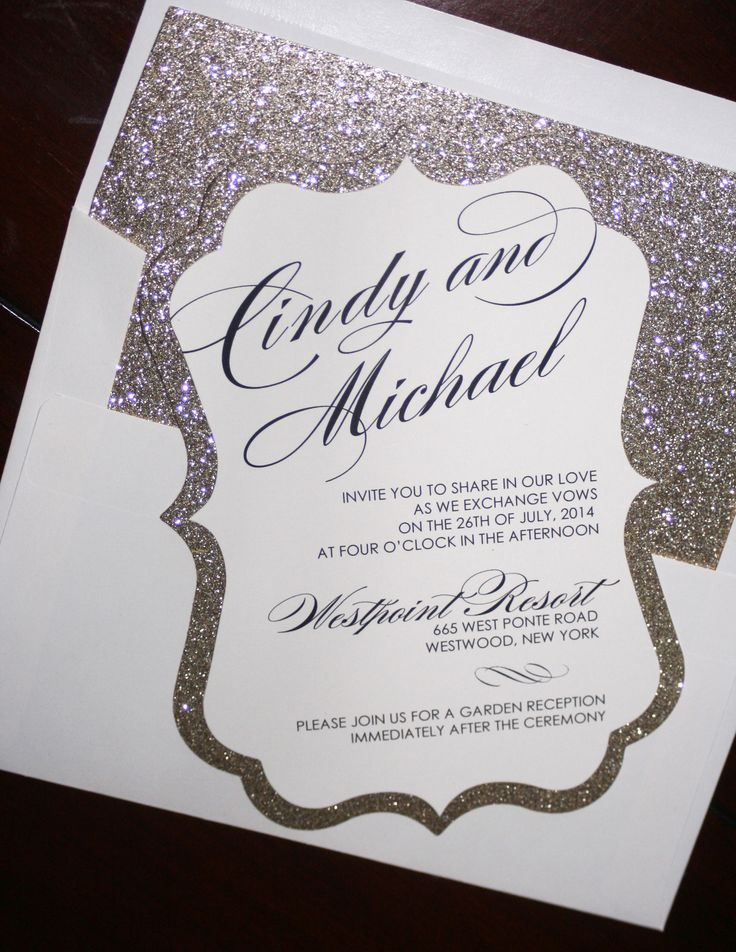 Gold Glitter Wedding Invitations | Too Chic & Little Shab Design Studio, Inc.Too Chic & Little Shab Design Studio, Inc.