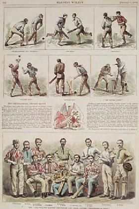 1868: Scenes from an English Cricket Game. Hand colored, engraved scenes from Harper's Weekly. Top scenes show six different plays in progress during a cricket game. At bottom is a group portrait of the All-England Eleven cricket team. Between the illustrations is part of an article describing an international cricket match.