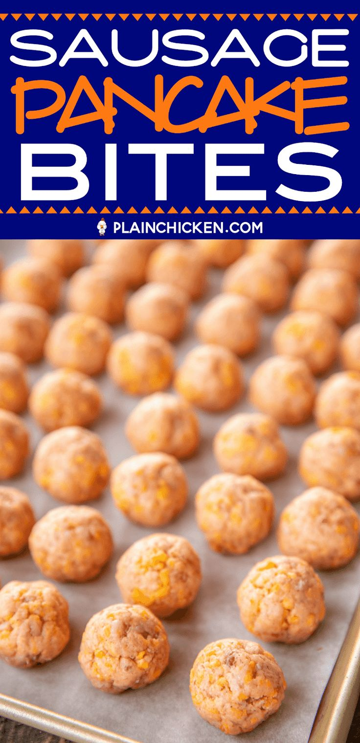 Sausage Pancake Bites - perfect for breakfast, lunch, dinner or parties! Can make in advance and freeze unbaked for later. Only 4 ingredients - sausag...