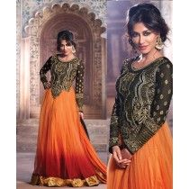 Maxi Style Brown & Black Anarkali Suit with Handwork. Purchase online now