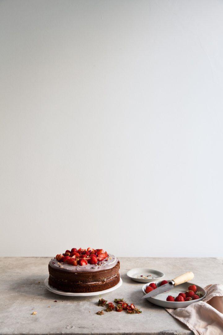 Chocolate Cake with Strawberries (GF)