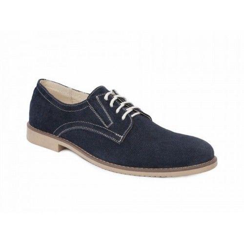 Мужские синие туфли 715грн. Шлифованная кожа