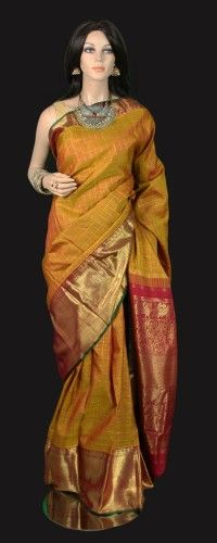 Mustard Zari Checks Kanjeevaram Saree
