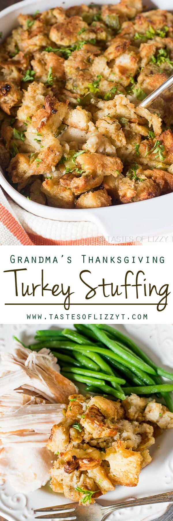 Grandma's Thanksgiving Turkey Stuffing. This is a long-time family recipe for simple and savory turkey stuffing. Bake it in the oven or in the turkey! via @tastesoflizzyt