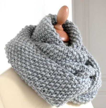 tutoriel snood écharpe infinie en tricot au point de riz