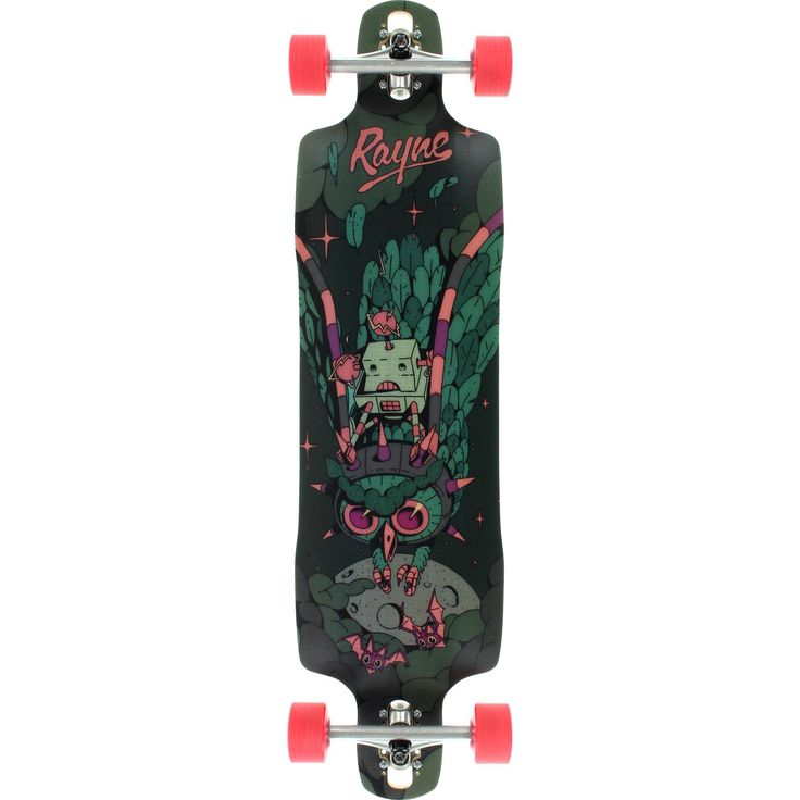 """Rayne Dalua Amazon V3 Complete Longboard Skateboard -10x38.5. Brand: Rayne. Size: 10.0"""" width by 38.5"""" length. The Amazon has some design similarities to the Rival and Supreme as a symmetrical, radial drop deck, but has some distinct differences: all new concave called MEAN CAVE that gets steeper at the waist to create natural gas pedals along the side and sick pockets where it meets the radial near the end - DOUBLE DROP and now includes variable wheelbase Drop Thru mounting - SPEED STIFF..."""
