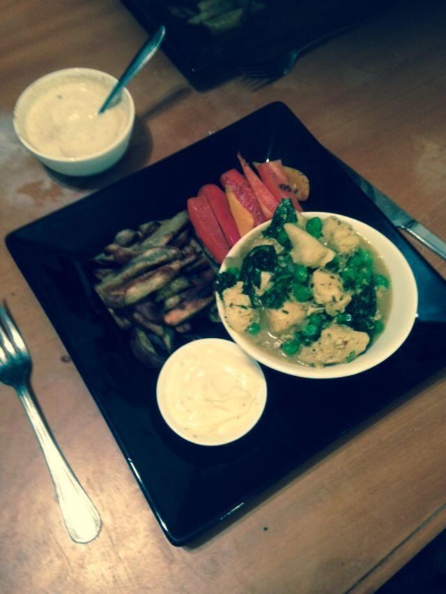 Thai coconut chicken curry w/ baked capsicum & kumera chips w/ side of aoli & cumin yoghurt dressings