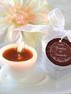 7.2*5.7*4cm White Environment Friendly Wax Coffee Cup Candles