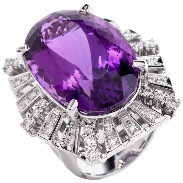 Preowned 1980s Large Amethyst Diamond Platinum Cocktail Ring ($4,450) ❤ liked on Polyvore featuring jewelry, rings, cocktail rings, purple, diamond jewellery, round cut rings, statement rings, pre owned diamond rings and amethyst rings
