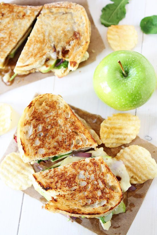 Brie, Fig, and Apple Grilled Cheese Recipe on twopeasandtheirpod.com The perfect grilled cheese sandwich for fall!