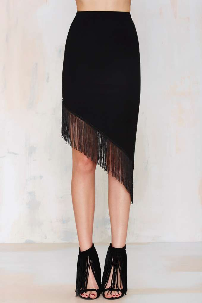 The Barracuda Asymmetrical Fringe Skirt will have 'em down on their knees.