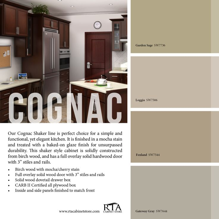 Color palette to go with our cognac shaker kitchen cabinet for Best thing to line kitchen cabinets