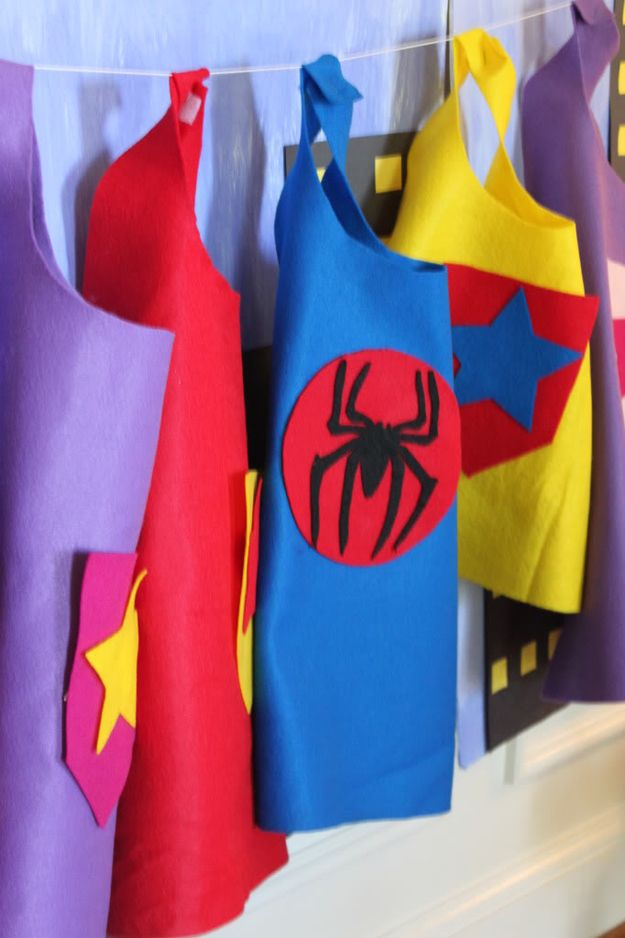 Here are some no-sew DIY capes. | How To Throw The Most Awesome Superhero Party Ever