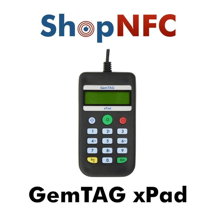 NFC reader and writer with keypad, display and beeper. Useful for secure authentication applications, NFC payments, online banking.