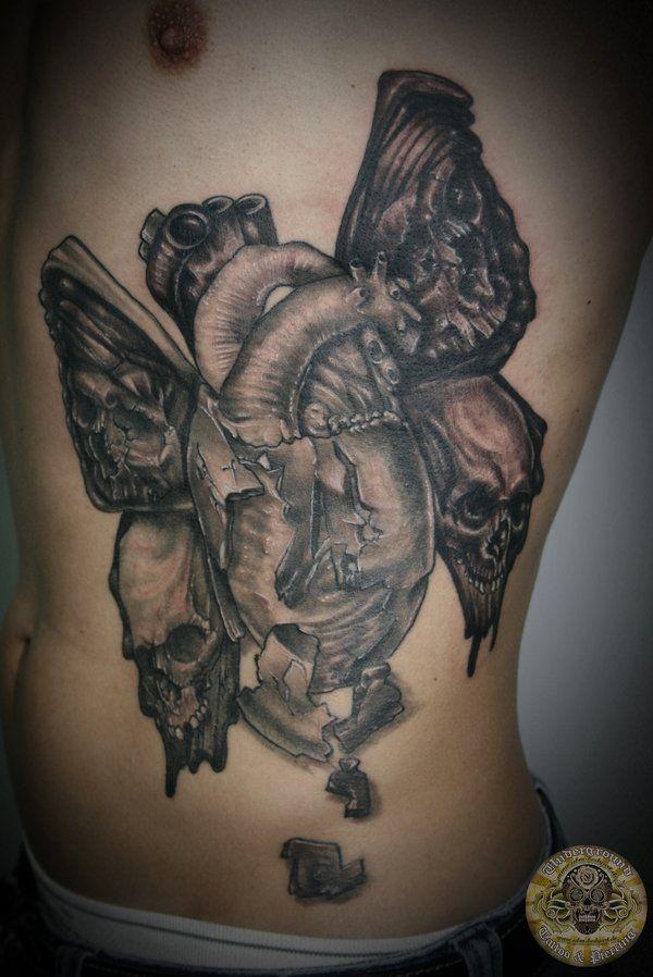 real heart skull butterfly by 2Face-Tattoo.deviantart.com on @deviantART