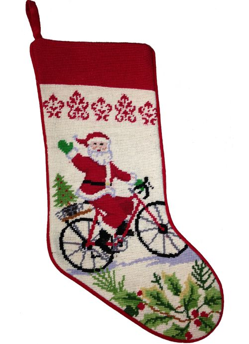 Santa on Bicycle Holiday Stocking