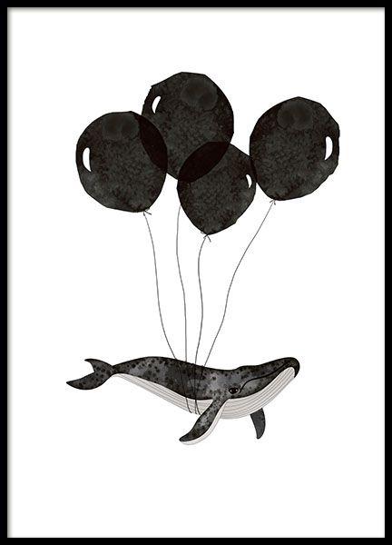 Poster met zwart-wit illustratie van een walvis die aan zwarte ballonnen hangt. Een fantasierijke en humoristische poster. Past in de kinderkamer of in de volwassenen kamer. www.desenio.nl