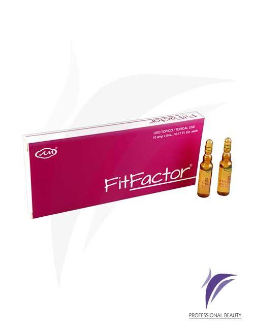 Fitfactor Caja x10 ampolletas de 5ml: El FitFactor es un tratamiento con principios activos reductores utilizando péptidos biomiméticos que son moléculas formadas por aminoácidos y estas a su vez forman las proteínas que evitan la formación de adipocitos previendo así la acumulación de grasa en diversas partes del cuerpo. Recomendado como tratamiento de mantenimiento después de procedimientos estéticos.