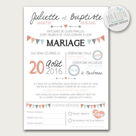 Faire-part de mariage original personnalisable à imprimer vous-même ou par un imprimeur.♦ ♦︎ CARACTÉRISTIQUES * Format : 15 x 10cm * Recto et Verso ♦︎ PERSONN - 11858557