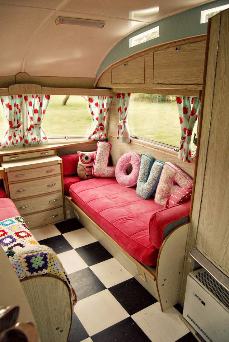 Adorable interior of this vintage caravan.