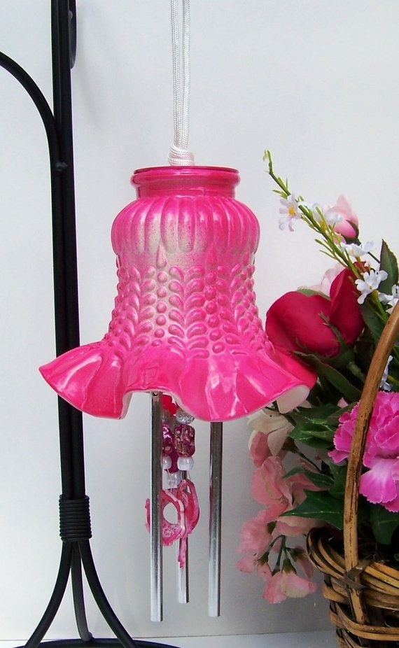 Windchime Dark Pink Light Shade Windchime Glass by handcreated4u