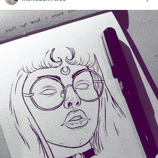 totally in love with this drawing of me by @monicauniverse it's just so good…