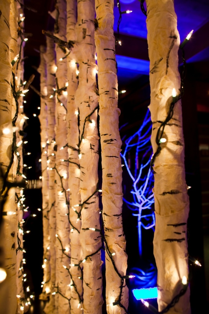 Birch trees with lights would be nice for along the walls