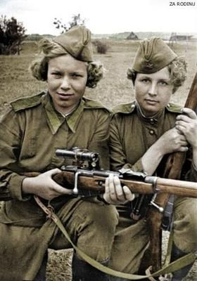 During WWII, Hitler forbid women (with some limited exceptions) from serving in the military and relegated them to strictly domestic roles. Contrast with the Soviet Red Army which had over 2,000 women snipers, including: Ludmila Pavlichenko, Klavdiya Kalugina, Nina Lobkovskaya, Moldagulova, Alija, Catherine Golovakha and Nina Kovalenko. Ultimately, the Soviets defeated the nazis with Hitler committing suicide. Then Hiroshima and Nagasaki happened...: