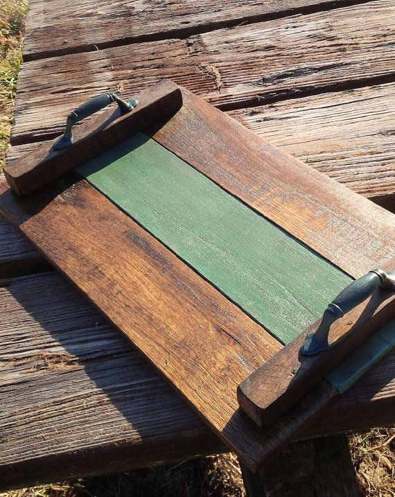 Pallet Wood Serving Tray Wooden Breakfast Tray Recycled Pallet Wood Display Tray…